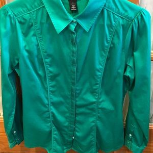 Bright green button down blouse